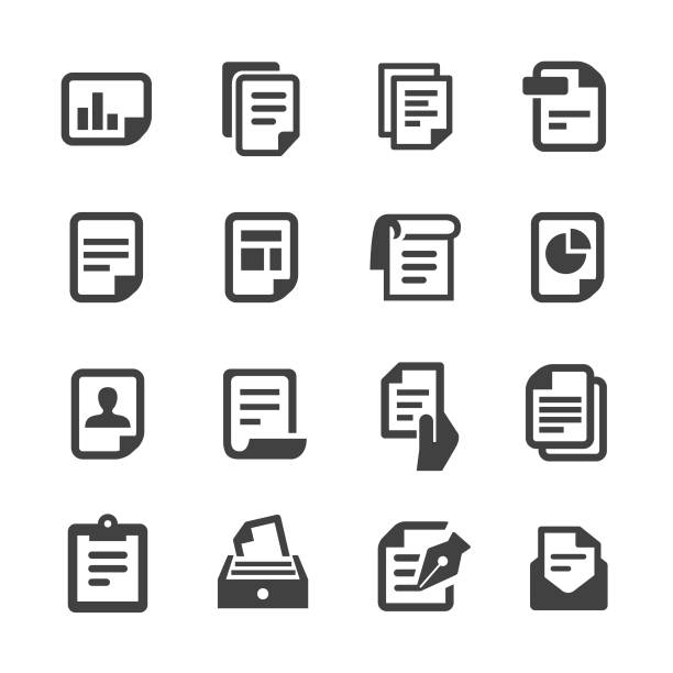 Document Icons - Acme Series Document, report, paper, statement, business, office form document stock illustrations