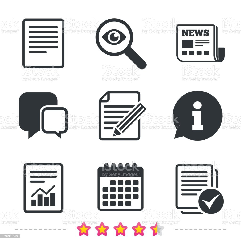 Document icons. File with chart and checkbox. vector art illustration