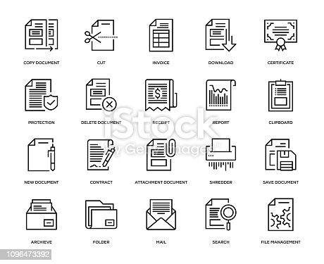 Document Icons Icon Set - Thin Line Series