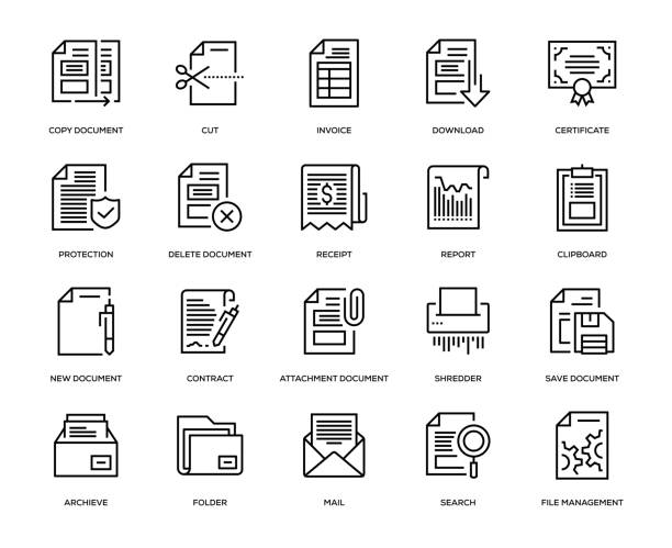 illustrazioni stock, clip art, cartoni animati e icone di tendenza di document icons icon set - scontrino