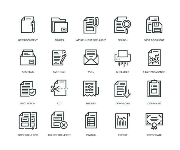 document icons - line series - kopiować stock illustrations