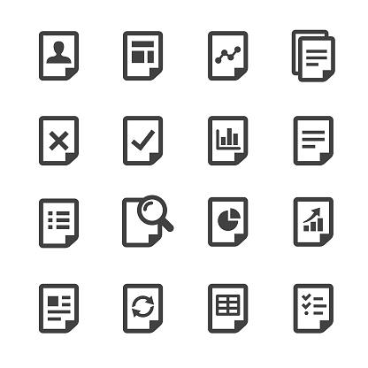 Document Icons Set Acme Series - Stockowe grafiki wektorowe i więcej obrazów Administrator