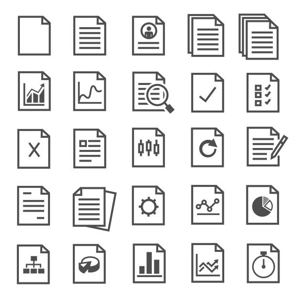 stockillustraties, clipart, cartoons en iconen met documentpictogrammen - papierwerk