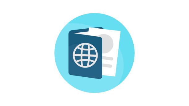 ilustraciones, imágenes clip art, dibujos animados e iconos de stock de icono del documento id pasaporte - pasaporte y visa