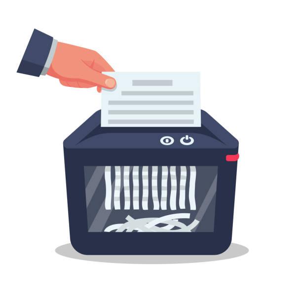 ilustraciones, imágenes clip art, dibujos animados e iconos de stock de documento en la mano para la destrucción - robo de identidad
