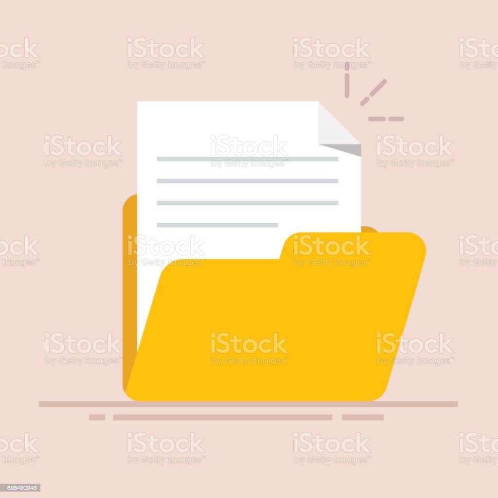 フォルダーのアイコンで文書化します抄録本文の紙シートフラット