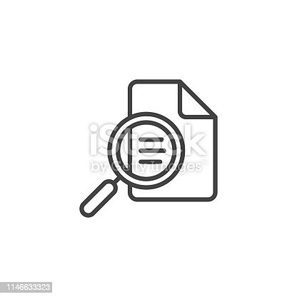Document inspection icon. Linear design symbol with thin line and monochrome outline minimal style. Editable stroke.