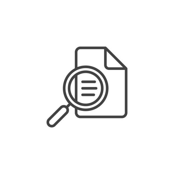 illustrazioni stock, clip art, cartoni animati e icone di tendenza di document inspection linear icon - facilità
