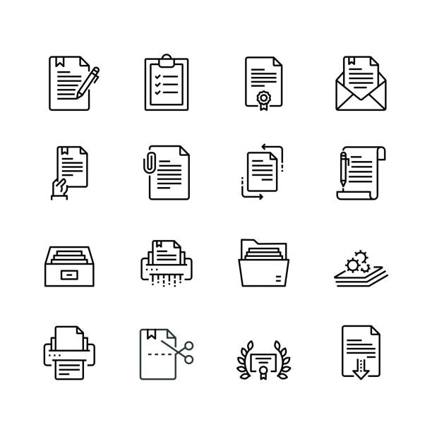 Document Line Icon Set Simple Set of Document Related Color Vector Line Icons. Contains such Icons as Batch Processing, Legal Documents, Clipboard, Download, Document Flow and more. Editable Stroke. 32x32 Pixel Perfect. clipboard stock illustrations