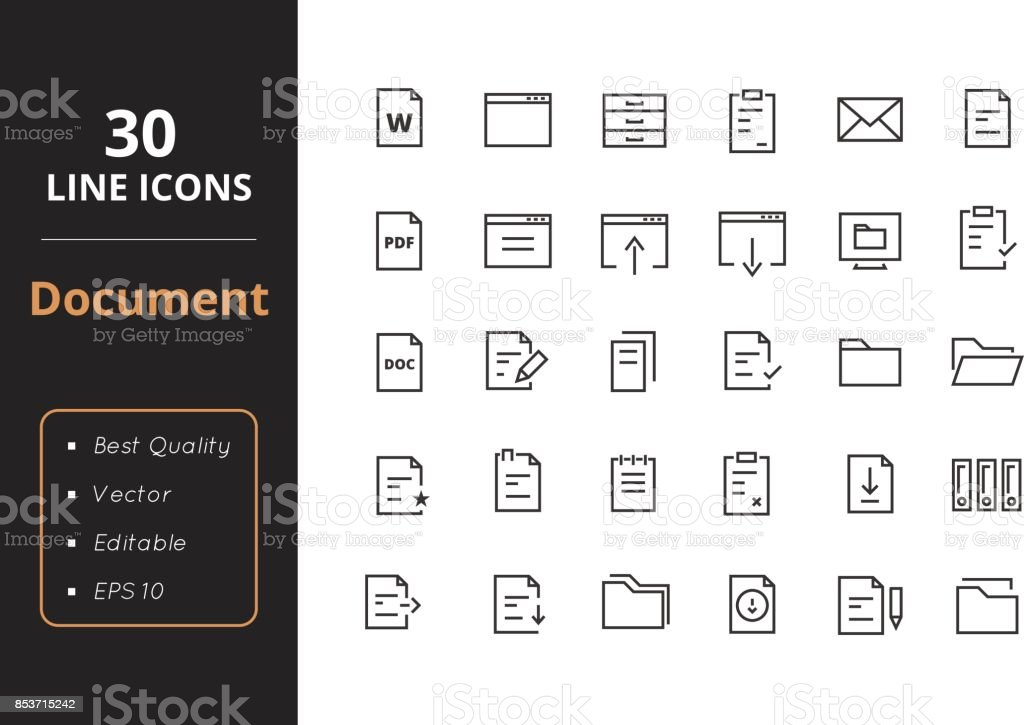 30 Document Line Icon