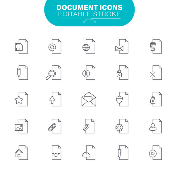 Document Line Icons Editable Stroke. Contains such icon as File, Communication, Resume, File Search, illustration vector art illustration