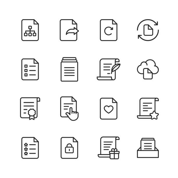 Document Line Icons. Editable Stroke. Pixel Perfect. For Mobile and Web. Contains such icons as Document, File, Communication, Resume, File Search. 16 Document Outline Icons. application form stock illustrations