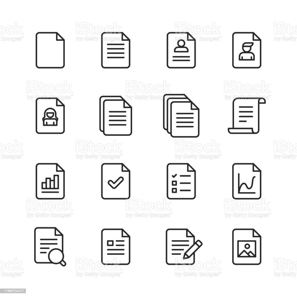 Document Line Icons. Editable Stroke. Pixel Perfect. For Mobile and Web. Contains such icons as Document, File, Communication, Resume, File Search. - Grafika wektorowa royalty-free (Akta)
