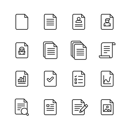 Document Line Icons. Editable Stroke. Pixel Perfect. For Mobile and Web. Contains such icons as Document, File, Communication, Resume, File Search.