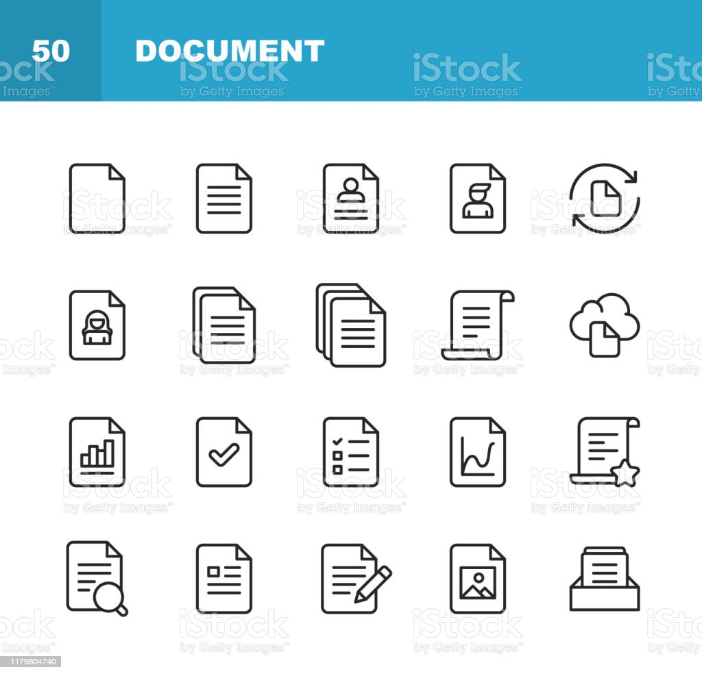 Document Line Icons. Editable Stroke. Pixel Perfect. For Mobile and Web. Contains such icons as Document, File, Communication, Resume, File Search. 20 Document Outline Icons. Application Form stock vector