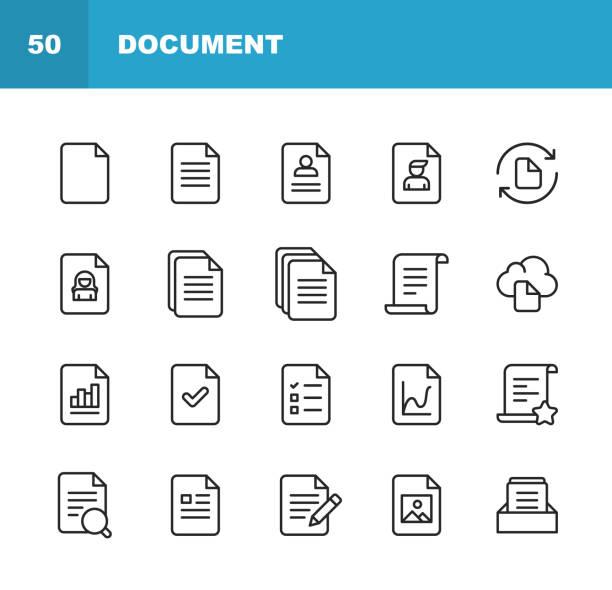 ikony wiersza dokumentu. edytowalny obrys. pixel perfect. dla urządzeń mobilnych i sieci web. zawiera takie ikony jak dokument, plik, komunikacja, wznów, wyszukiwanie plików. - notes stock illustrations