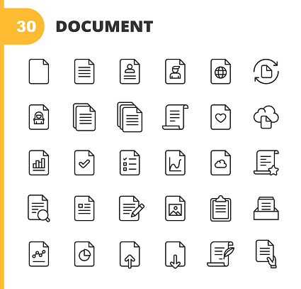 30 Document Outline Icons.