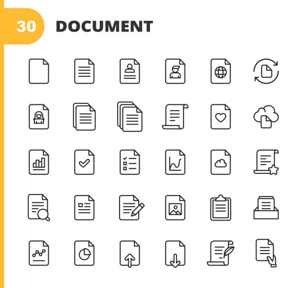 dokumentzeilensymbole. bearbeitbarer strich. pixel perfekt. für mobile und web. enthält symbole wie dokument, datei, kommunikation, lebenslauf, dateisuche, analytics, musik, video, herunterladen, hochladen, recht, bild, cloud, schreiben. - dokument stock-grafiken, -clipart, -cartoons und -symbole