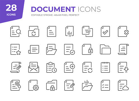 28 Document Outline Icons - Adjust stroke weight - Easy to edit and customize