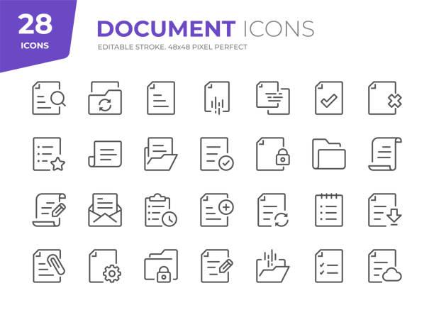 dokumentzeilensymbole. bearbeitbarer strich. pixel perfekt. - dokument stock-grafiken, -clipart, -cartoons und -symbole