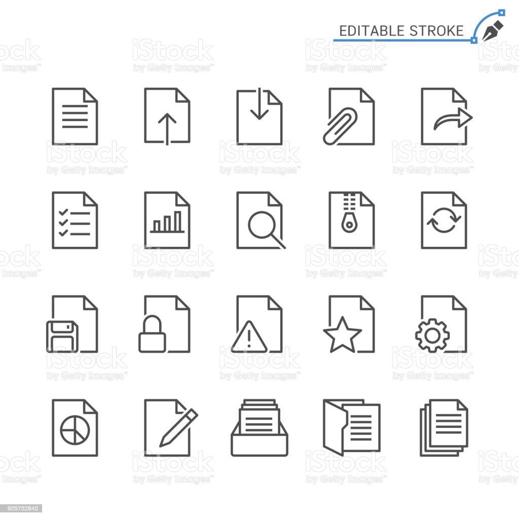 Document line icons. Editable stroke. Pixel perfect. - Grafika wektorowa royalty-free (Akta)