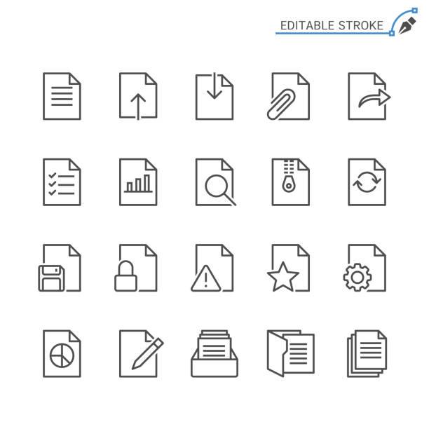 ikony wierszy dokumentu. edytowalne obrys. piksel idealny. - chudy stock illustrations