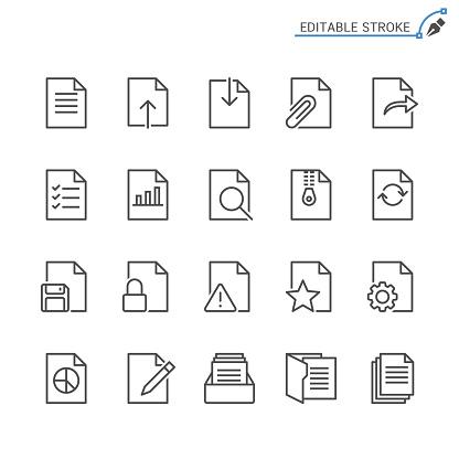 Document Line Icons Editable Stroke Pixel Perfect - Stockowe grafiki wektorowe i więcej obrazów Akta