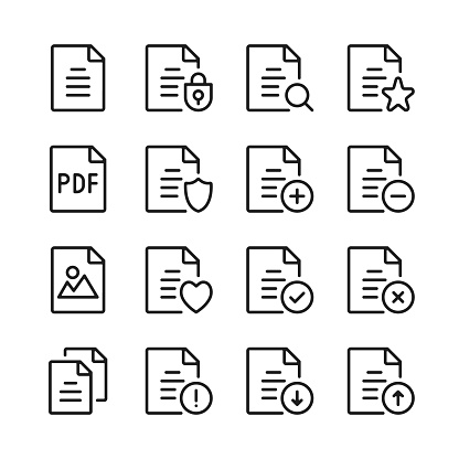 Document line icons set. Modern graphic design concepts, simple linear outline elements collection. Thin line design. Vector line icons