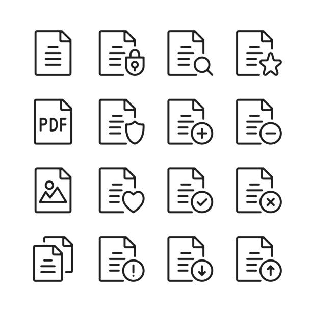 Document line icons set. Modern graphic design concepts, simple linear outline elements collection. Thin line design. Vector line icons Document line icons set. Modern graphic design concepts, simple linear outline elements collection. Thin line design. Vector line icons form document stock illustrations