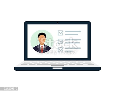istock Document List On A Laptop With A Picture Of A Man With Tick Check Marks For Positive Reviews Vector 1221229912