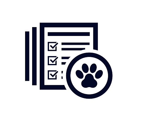 Document list showing days of the month with pets  paw print in a circle