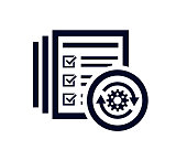 Document list with tick check marks and a rotating gear vector illustration
