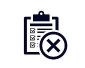 istock Document list with tick check marks on clipboard with false cross mark - vector 1219808489