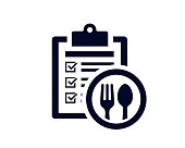 istock Document list with tick check marks on clipboard with fork and tablespoon utensils - vector 1219808483