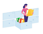 Document Management System, Information Database Catalog Concept. Business Woman Character Stand at Huge Data File Archive Storage Holding Folder with Paper Docs in Hands. Cartoon Vector Illustration