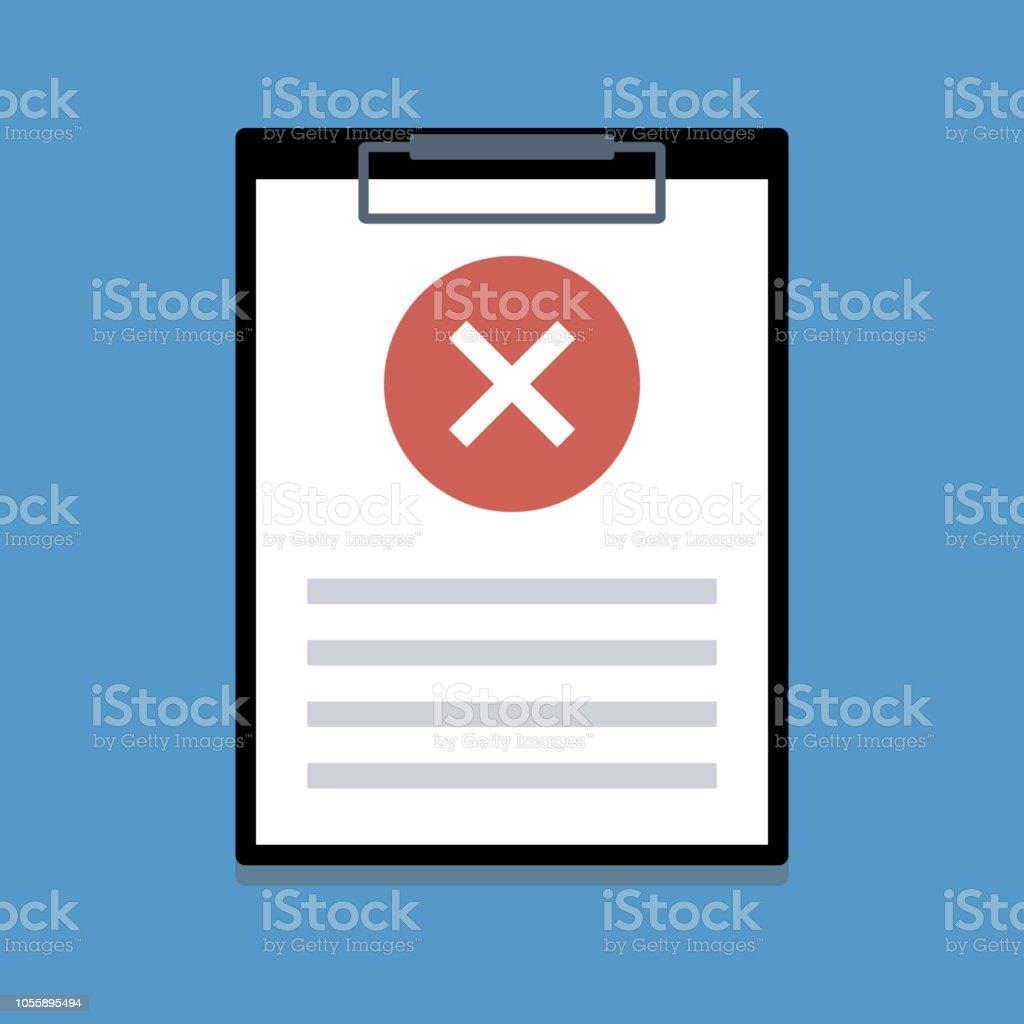 Dokument auf Papierhalter mit ablehnen Zeichen – Vektorgrafik