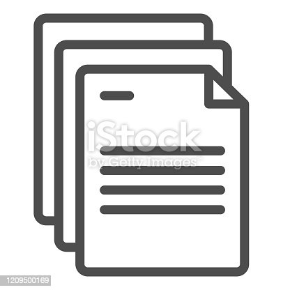 istock Document papers line icon. Pages vector illustration isolated on white. Office notes outline style design, designed for web and app. Eps 10. 1209500169