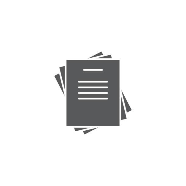dokument dokumenty stos ikona linii, znak wektorowy kontur, piktogram stylu liniowego izolowane na białym - papier stock illustrations