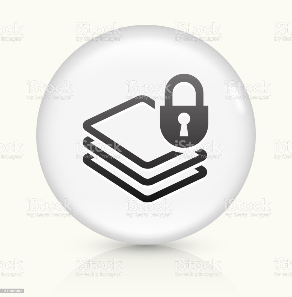 Document Protection icon on white round vector button vector art illustration