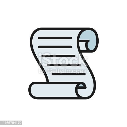 Vector document scroll flat color icon. Symbol and sign illustration design. Isolated on white background