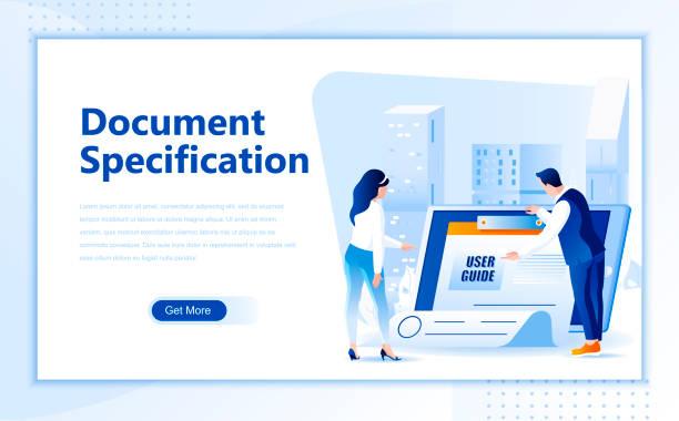 Document specification flat web page design template of homepage or header – artystyczna grafika wektorowa