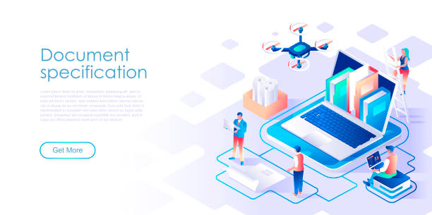 Document specification isometric landing page vector template vector art illustration