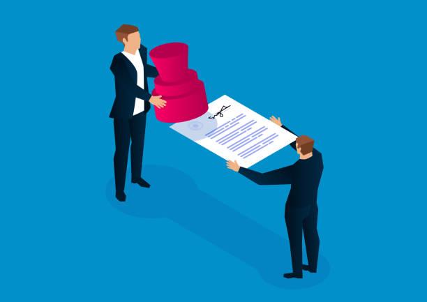 illustrations, cliparts, dessins animés et icônes de document d'estampillage, signature de contrats, accords commerciaux et coopération - notaire