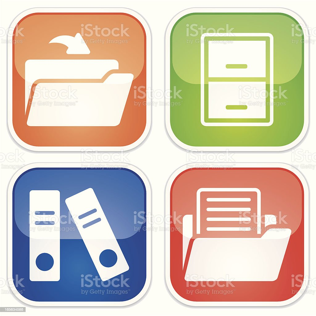 document storage miniset - Quadro Glossy royalty-free stock vector art