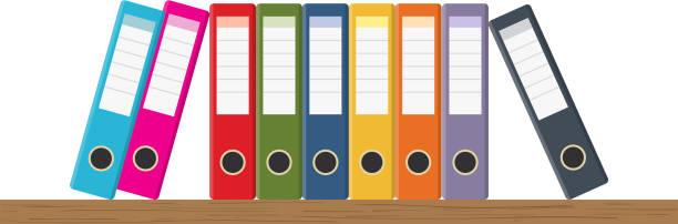 document storage shelves - ring binder stock illustrations