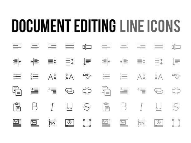 Document text editing vector line icon for app, mobile website Document text editing vector line icon for the app, mobile website responsive inserting stock illustrations