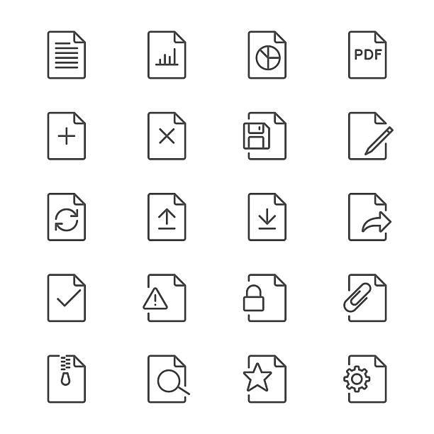 Dokument dünne Symbole – Vektorgrafik