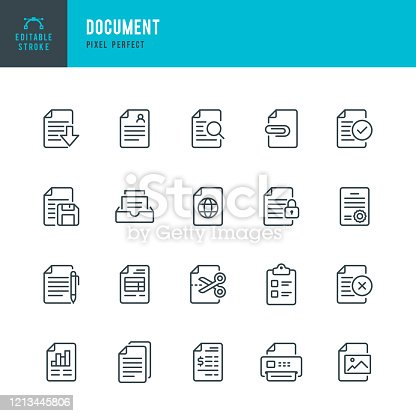 istock Document - thin line vector icon set. Pixel perfect. Editable stroke. The set contains icons: Document, Clipboard, Resume, File, Archive, File Search. 1213445806