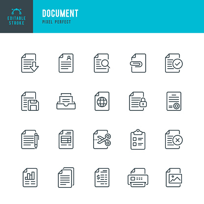 Document - thin line vector icon set. 20 linear icon. Pixel perfect. Editable outline stroke. The set contains icons: Document, Clipboard, Resume, File, File Downloading, File Search, Financial Bill, File Print, Archive.