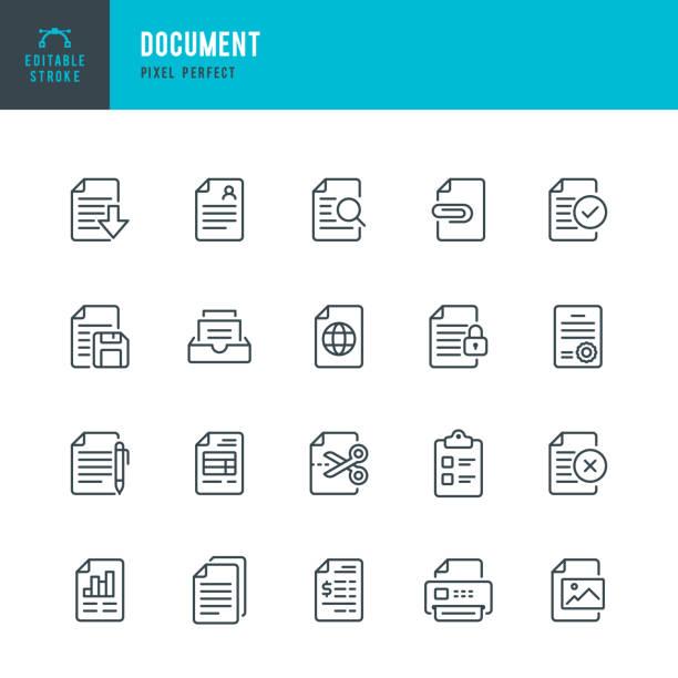 dokument - zestaw ikon wektora cienkiej linii. piksel idealny. edytowalne obrys. zestaw zawiera ikony: dokument, schowek, wznów, plik, archiwum, wyszukiwanie plików. - notes stock illustrations